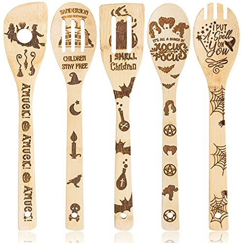 Eartim 5Pcs Halloween Hocus Pocus Theme Wooden Spoons Slotted Spatula Set, Kitchen Burned Bamboo Cookware Gadget Kit Cooking Non-stick Utensils Fun Gift Idea for Family Friends Housewarming Present