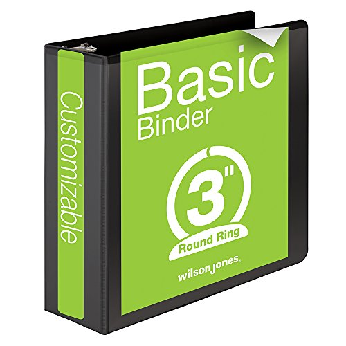 Wilson Jones 3 Inch 3 Ring Binder, Basic Round Ring View Binder, Black (W362-49B)