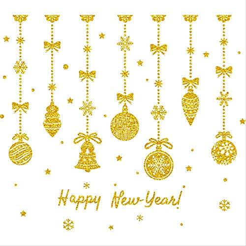 DJY-JY Seis Piezas:Decoración de Navidad Escena Set Shop Window Sticker Etiqueta engomada de la puerta de cristal SART Navidad Oro colgante pared
