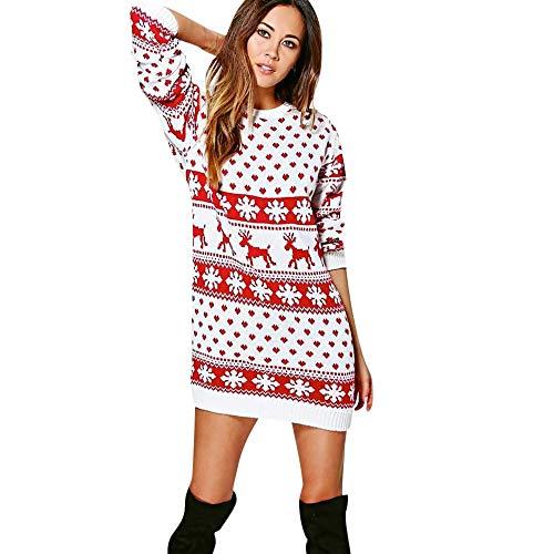 BaZhai de Navidad, Mini vestido de manga larga con estampado navideño de navidad para mujer de Mini cuello redondo...