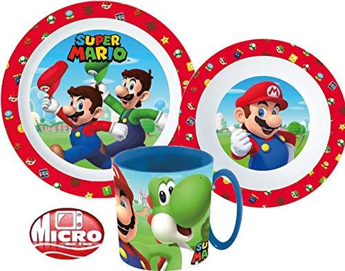 Super Mario Kinder-Geschirr Set mit Teller, Müslischale und Tasse