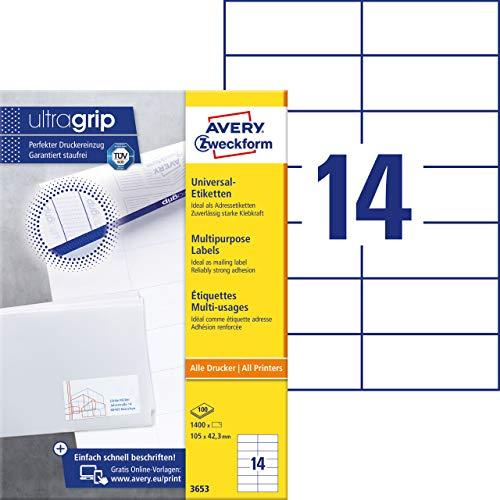 AVERY Zweckform 3653 Adressaufkleber (1.400 Klebeetiketten, 105x42,3mm auf A4, Papier matt, individuell bedruckbare Absenderetiketten, selbstklebende Adressetiketten mit ultragrip) 100 Blatt, weiß