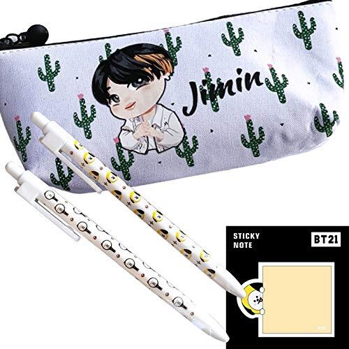 eKoi Cute Kawaii KPOP Bangtan Boys BTS Cartoon Canvas Cactus Zipper Pencil Case Pouch Bag Holder w Ballpoint Pen Post It Note Pad Set for ARMY Stationery Back School Supplies Pack (JIMIN)
