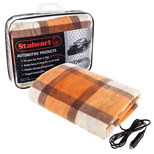 Stalwart 75-BP1011 Electric Blanket-Heated 12V Polar Fleece Travel Throw for Car, Truck & RV-for Cold Weather, Tailgating & Emergency Kit (Orange)