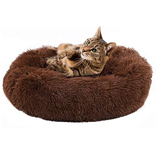 Cama De Peluche Suave Cama De Perro Forma Redonda Cama para Dormir Cat Puppy Pet Invierno Sofá Cálido Cojín Diameter23.6 En