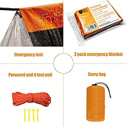 MrsharkFit Emergency Tent with 2 Emergency Blanket – 2 Person...