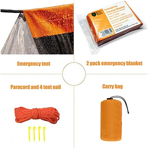 Mrsharkfit Emergency Tent with 2 Emergency Blanket – 2 Person Emergency Tent – Use As Survival Tent, Emergency Shelter… 4