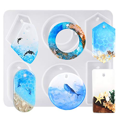 FUNSHOWCASE Large 6-Cavity Cabochon Gemstone Jewelry Silicone Mold with Hole for Polymer Clay Crafting, Epoxy, Pendant Earrings Jewelry Keychain Making
