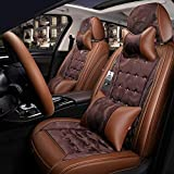 LINGJIE Fundas para Asiento de Coche, cojín para Coche, la mayoría de los Camiones sedán, SUV, Muy Bien adaptados para Hyundai Elantra Sonata Tucson Accent Mazda6 CX5, marrón