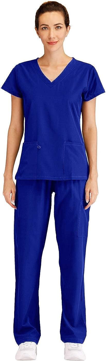 Minty Mint Women's V Neck Stretch w Side Sale Medical Max 80% OFF Scrub Set Panel