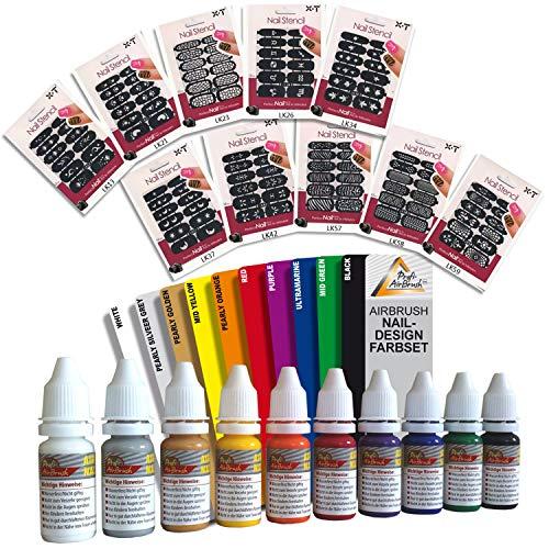 Set AIRBRUSH FARBEN für AIRBRUSH NAILDESIGN - Airbrushfarbe für die Nägel, bedingt auch geeignet für Airbrush Tattoo, 10x12 selbstklebende Schablonen mit hübschen Motiven für kreatives Nageldesign