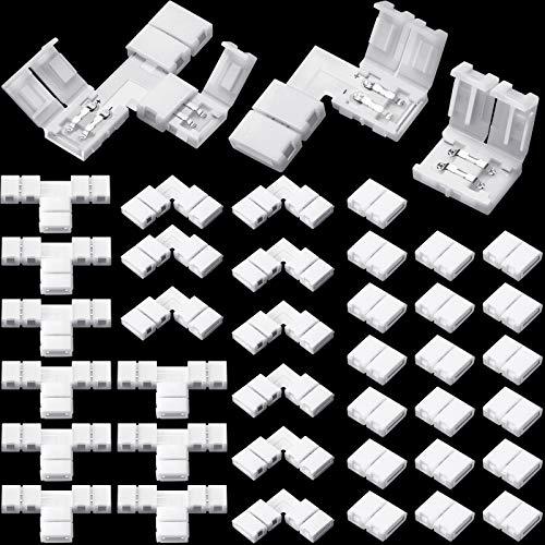 40 Conectores de Tiras LED Conector de Luces de Tira RGB 2 Pines Conectores de Luz Adaptadores LED sin Soldadura en Forma T Conector LED RGB 8 mm en Forma L para Tiras LED SMD 3528 2835