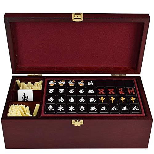 ZHIRCEKE Juego de Japón Mahjong, seleccionado producción de acrílico Saludable, Conjunto de Viajes de Caja de Regalo Mahjongg Japonés (2.7cm x 2 cm x 1,6 cm),Negro
