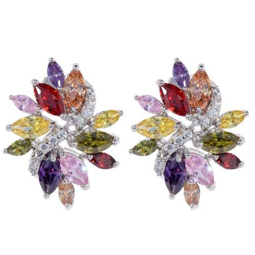 plata Plated Yazilind Deslumbrante Pendientes Flor cúbico Circonita de colores perfecto semental Mensaje