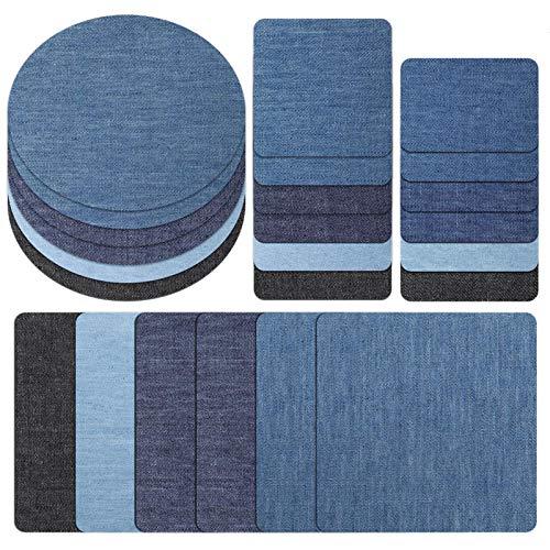 miuse 24 Stück Aufbügelflicken Jeans Flicken zum Aufbügeln Jeans Patches zum Aufbügeln Patch Sticker Bügelflicken Denim Patches Jeans Reparatursatz für Jeans DIY Taschen