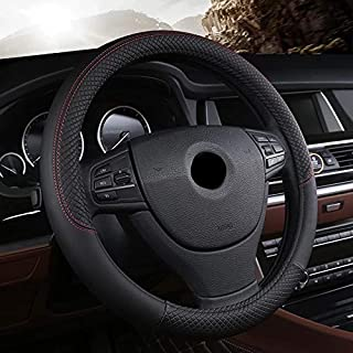 PU Leather Universal Car Steering Wheel Cover 15 inches or 38CM By ShoeTree Seller (Black   by ShoeTree Seller)
