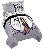 Disney Nightmare Before Christmas Gothic Romance 5 Piece Twin Bed Set - Includes Reversible Comforter & Sheet Set - Bedding Features Jack Skellington & Sally (Official Disney Product)