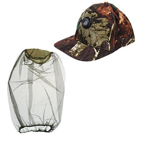 MagiDeal Casquette de Baseball de Pêche 5w LED Lampe Phare Angle Réglable + Moustiquaire Maille Anti-Moustique pour Camping Randonnée
