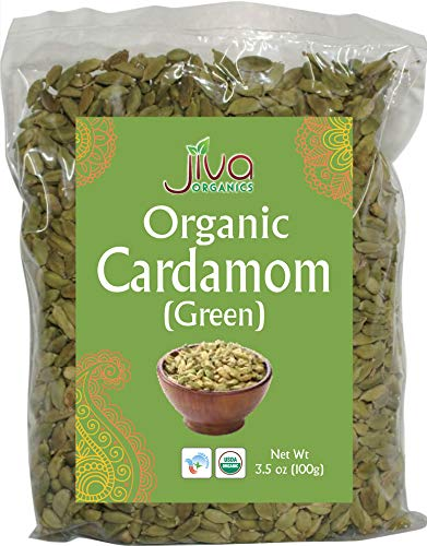 Jiva Organic Green Cardamom Pods Whole 3.5 Ounce - Non-GMO, Premium Quality, Jumbo Size