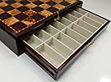 Large 20' High Gloss Chess Storage Board Chest W/ 2 Drawers Cherry and Burl Wood Color