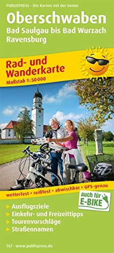 Oberschwaben, Bad Saulgau bis Bad Wurzach, Ravensburg: Rad- und Wanderkarte mit Ausflugszielen, Einkehr- & Freizeittipps sowie Straßennamen, ... 1:50000 (Rad- und Wanderkarte: RuWK)