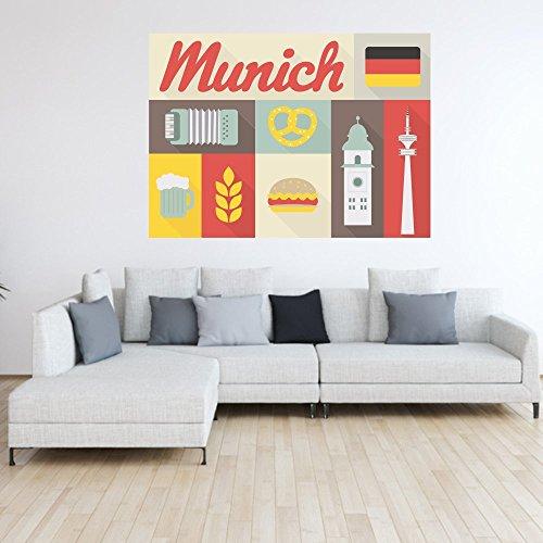 malango® Wandbild - Munich Wand Bild Schriftzug Flagge Sehenswürdigkeiten Wiesen Brezel Bierkrug Stadt Land Bayern Design ca. 140 x 101 cm digitalgedruckt
