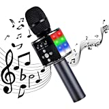 NN Wireless Bluetooth Karaoke Microphone, Portable Handheld Karaoke Speaker with Controllable LED Lights, Adjustable Radio Recorder for Kids Girls Boys More Than Three Months Birthday Gifts