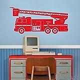 WSLIUXU Camion de pompier Sticker mural voiture décoration murale autocollant chambre d'enfants jouet décoration vinyle Applique garçon maternelle chambre garçon chambre King Blue 16 125x57cm