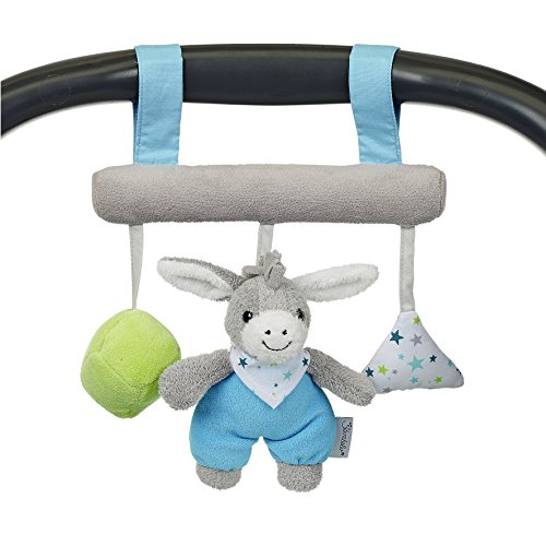 Sterntaler 6601731 Spielzeug zum Aufhängen mit Klettverschluss, Esel Erik, Inklusive Rassel, Alter: Für Babys ab der Geburt, Blau/Grün