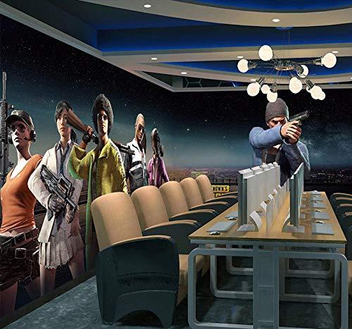 ARXBH behang zelfklevende muur schilderij spel Internet Cafe 3D behang kinderen kamer woonkamer slaapkamer restaurant tv muur achtergrond 3D muurschildering kunst jongen en meisje kamer decoratieve muur poster 250x175 cm (WxH) 5 stripes - self-adhesive