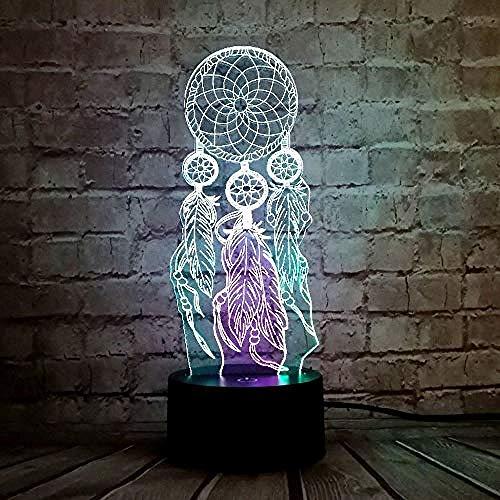 Nachtlampje, Valentijn Windgong Tafellamp Schakelaar Dream Catcher 3D Touch Nachtlampje Slaapkamer Feest Bureau Decor Lamp Meisjes Kerstcadeau, Kerstcadeaus