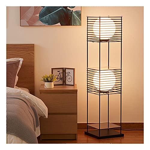 Indoor Vloerlamp met planken voor woonkamer staande leeslicht moderne dimbare woondecoratie display opslag metalen staande lamp Home(Three-color dimming, A)