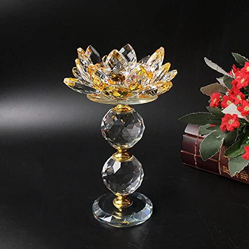 Candelabro de cristal de flor de loto portavelas colorido candelabro faro,...