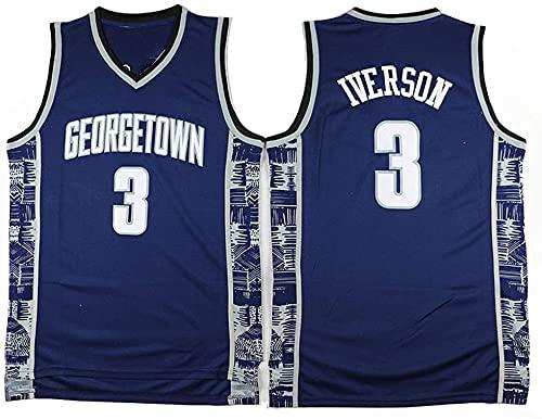 jiaju Ropa Baloncesto para Hombre NBA Jersey Vintage Sixers 3# Iverson Georgetown Transpirable Secado rápido Vestima sin Mangas Top para Deportes, Azul, S (Color : Blue, Size : M)