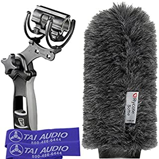 Rycote 18cm Classic-Softie (19/22) & Rycote Lyre Pistol Grip Shock Mount for Rode NTG-3 Shotgun Mic with (2) TAI Audio Cable Straps