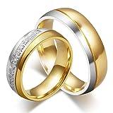 HIJONES Uomo Forever Love Acciaio Inossidabile 18K Oro Placcato Nozze Anelli per Coppie Taglia 22