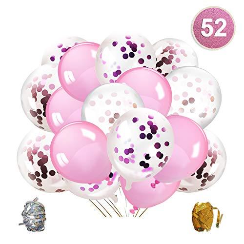 Qipop Rose Confettis Ballons Fête, Blanc et Rose Ballon Anniversaire Baudruche, pour Fournitures Ballon pour Mariage, Anniversaire, Baby Shower, Diplôme, Cérémonie Décorations de Fête(52 Pièces)