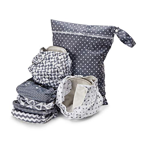 Simple Being Reusable Cloth Diapers, Double Gusset, One Size Adjustable, Washable Soft Absorbent, Waterproof Cover, Eco-Friendly Unisex Baby Girl Boy, six 4-Layers Microfiber Inserts (Geometrics)