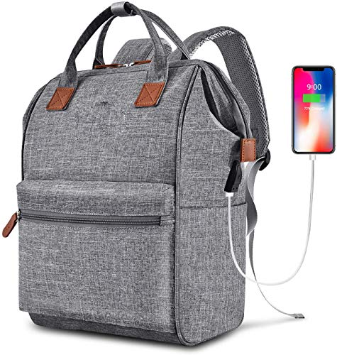 N \ A Durable Travel Laptop Backpack Water Resistant Anti-Theft Bag with USB Charging,Computer Business Backpacks for Women Men College School Student Gift,Charging Port for Women Men,Gray