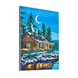 GOTONE 5d kits de pintura de diamante bordado acrílico punto de cruz para adultos niños decoración de la pared del hogar casa cerca del lago (lienzo de 12 x 16 inch)