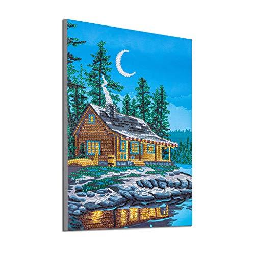GOTONE 5d Diamond Painting Kits Acrylstickerei Kreuzstich für Erwachsene Kinderhaus Wanddekoration Haus in der Nähe des Sees (Leinwand 12X16 Inch)