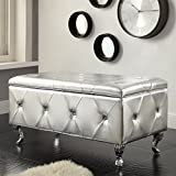 Christies Home Living Silver Crystal Tufted Storage Bench,