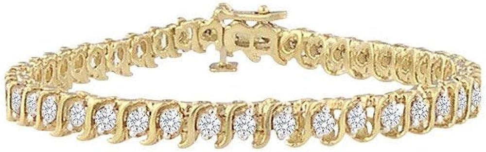 April Birthstone Cubic Zirconia S Tennis Bracelet in 18K Yellow