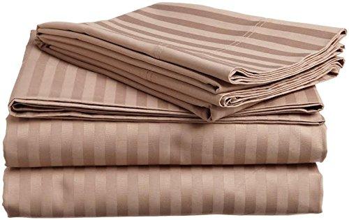 Rajlinen Bed Sheet Set Egyptian Cotton 800 Thread-Count - 4 Piece Sheet Set 16' Drop (Taupe Stripe, Short King 72' X 75' + 16' Drop)