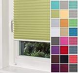 Home-Vision® Premium Plissee Faltrollo ohne Bohren mit Klemmträger / -fix (Grün, B105cm x H120cm) Blickdicht Sonnenschutz Jalousie für Fenster & Tür