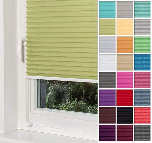 Home-Vision® Premium Plissee Faltrollo ohne Bohren mit Klemmträger / -fix (Grün, B25cm x H120cm) Blickdicht Sonnenschutz Jalousie für Fenster & Tür
