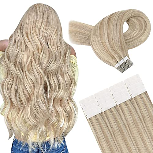 YoungSee Tape Extensions Echthaar 45 cm Blond Strähnchen Haarextensions Echthaar Tapes Aschblond mit Blond Remy Seamless Skin Weft Tape in Human Hair Extensions 20 Tressen 50g