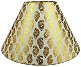 RDC 10' Round Cream with Golden Designer Lamp Shade for Table Lamp