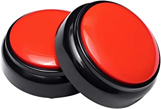 Neutral Sound Talking Button,Record Sound Box Answer Buzzers 30 Seconds Recording Set of 2(Red and Black)