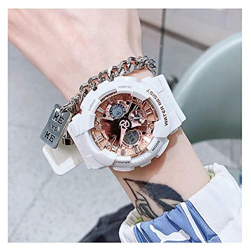 Reloj Digital Hombre Mujer,5ATM Impermeable Esfera Grande,Deportivo Relojes De Pulsera Unisex,con Retroiluminación LED,Resistente Al Agua (Color : Gold)